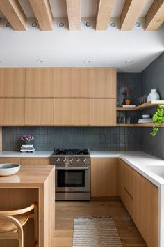 Modern kitchen with warm wood cabinets