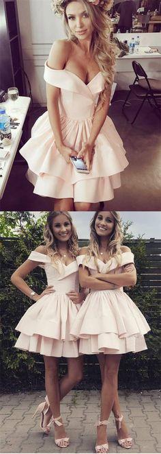caaaf58e66c A-Line Off-Shoulder Pink Satin Short Cheap Homecoming Dresses