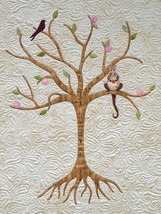 Tree Quilt- is that a possum in this tree? Tree Quilt Pattern, Bird Quilt, Cat Quilt, Quilt Patterns, Applique Patterns, Quilting Board, Longarm Quilting, Free Motion Quilting, Machine Quilting