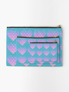 'Pastel hearts in hearts' Zipper Pouch by sillybanana Makeup Bags, Gifts For Family, Zipper Pouch, Hearts, Pastel, Unique, Stuff To Buy, Makeup Pouch, Cake