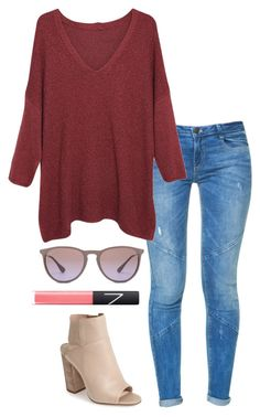 """""""red oversize sweater"""" by helenhudson1 ❤ liked on Polyvore featuring Zara, Violeta by Mango, Dolce Vita, NARS Cosmetics, Ray-Ban, women's clothing, women, female, woman and misses"""