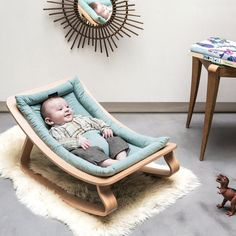 Charlie Crane Levo Aruba Blue Babywippe aus Holz in türkis (ab Geburt) - Eco-friendly baby bouncer in our baby onlineshop www. Eco-friendly baby bouncer in our baby onlineshop www. Baby Bouncer, Baby Up, Our Baby, Baby Bedroom, Baby Room Decor, Charlie Crane, Charlie Charlie, Baby Rocker, Nursery Rocker