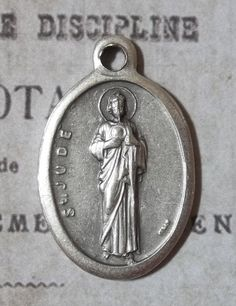 Vintage Holy Italian Silver Medal Saint Jude Thaddeus Patron Saint Of Desperate Cases & Lost Causes Holy Charm, Pray For Us
