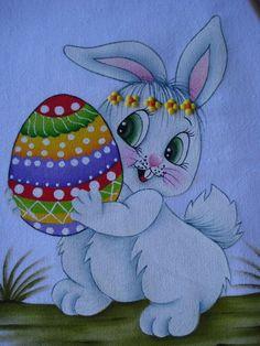 Trabalhos da artesã Cris Robalo tirados da net ... Bunny Painting, Painting For Kids, Fabric Painting, Art Drawings For Kids, Drawing For Kids, Easter Bunny Colouring, Alcohol Ink Crafts, Easter Egg Designs, Fun Arts And Crafts
