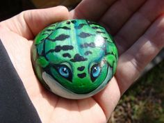 Painted Rock frog by PaintedRocksbyShelli on Etsy