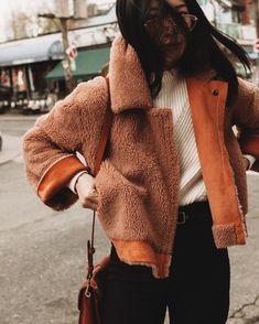 Soft and cozy orange jacket over beige sweater and black pants. Fashion Killa, Cool Style, Style Fashion
