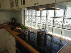 kitchen renovation after white Ikea wood benchtop glass bricks