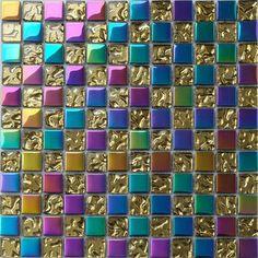 Glazed Mosaic Tiles Iridescent Glass Mosaic Tile for Wall Decoration Tile Golden Wave Crystal Glass Mosaics Art Patterns Glass Mosaic Tiles, Mosaic Art, Iridescent Tile, Dream Shower, Black Light Posters, Kitchen Wall Stickers, Pattern Art, Art Patterns, Wall Decor