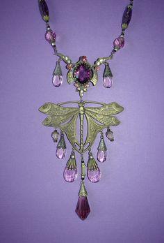 Stunning Art Nouveau Czech glass dragonfly necklace by MeMeWorld