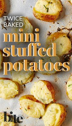 The ultimate finger food, these Twice-Baked Mini Potatoes are one-bite wonders that can be made in advance - you just pop them in the oven for a second baking before the guests arrive. An amazing appetizer, these tiny cheese and chive-stuffed taters get gobbled up as a superb side dish as well. #fallrecipes #holidayrecipes
