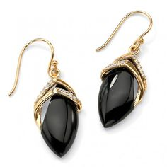 Marquise-Shaped Genuine Onyx Cubic Zirconia Accent 18k Gold-Plated Drop Earrings at Viomart.com
