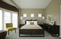 Modern Bedroom Design Ideas with Dark Wood Bedroom Furniture and Green Patterned Bedroom Chair