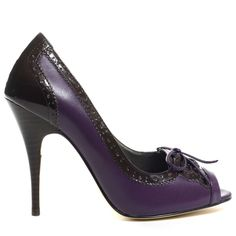 Prep out your style in these Oxford styled pumps from JLO Footwear. You are sure to get an A+ in style with the two-tone Edyth pump, featuring a purple leather upper with brown wingtip trim, a lady-like peep-toe, laces at the vamp, and a 4 inch stiletto heel. Gossip girl is sure to be jealous!