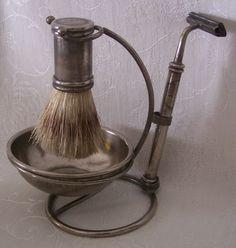 Vintage International Silver Shaving Stand w/Badger Hair Brush #iloveoldstuff #shaving #vintage