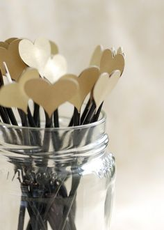 Heart topped drink stirrers