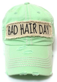 CAPS  N VINTAGE Bad Hair Day Patch Embroidery Distressed Baseball Hat  Vintage Wear 0871099e39c3