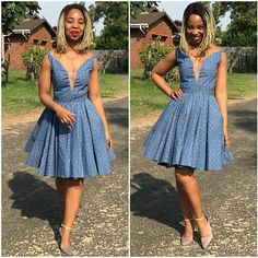 Blue Seshweshwe Shweshwe Dress Seshweshwe Dresses, Latest African Fashion Dresses, African Dresses For Women, African Print Dresses, African Print Fashion, African Attire, African Outfits, Latest Fashion, Setswana Traditional Dresses