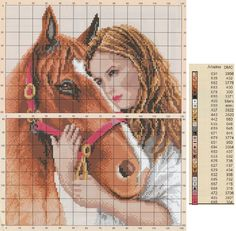 0 point de croix femme et son cheval - cross stitch girl and her horse
