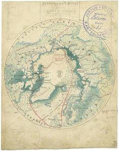 Entwurfszeichnung August Petermanns zu einer Karte des Nordpols