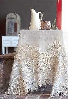 a doily table cloth!? love Love LOVE this idea!