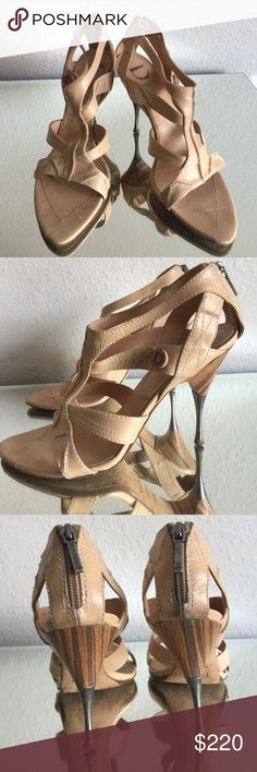💯 Authentic Dior strappy  👠 heels Authentic from my personal collection.  Worn with care.  Size 38.5. Purchased from the Dior store.  Heel height 4 inches. Some signs of wear on the back of the top of the shoes.  The silver heels need a little shining.  Comes with dustbag. No box 📦. No trades!!! Dior Shoes Heels