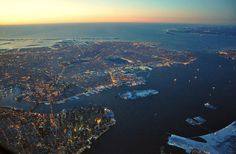 An incredible view of Downtown Manhattan, Ellis Island and Brookyln: the ocean in the back is amazing! NYC, New York