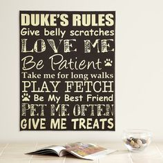 Personalised Pet Rules Canvas