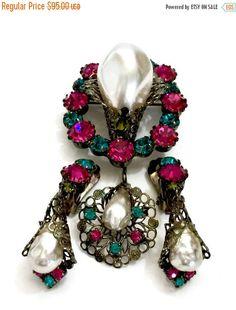 Rhinestone and Faux Pearl Demi, Brooch & Earrings, Large Faux Baroque Pearl, Jewel Tone Rhinestones, Intricate Filigree Gun Metal Setting