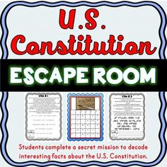 Constitution Escape Room Activity for the classroom. Social Studies Notebook, 5th Grade Social Studies, Teaching Social Studies, Student Teaching, History Education, Teaching History, Education Quotes, Classroom Activities, Learning Activities