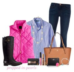 """""""Gingham and Pink: What Could Be Better?"""" by prepped-in-pearls ❤ liked on Polyvore featuring J Brand, Banana Republic, Tory Burch, J.Crew, NARS Cosmetics, Tiffany & Co., Bobbi Brown Cosmetics and tarte"""