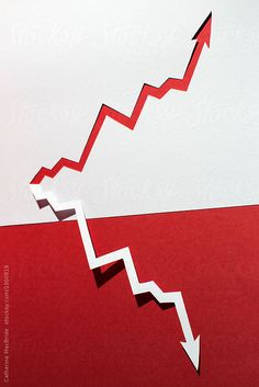 A zig-zag paper arrow grows in opposite directions on a red and white background. Zig Zag, Arrows, My Images, Photography Ideas, Red And White, High School, Symbols, Stock Photos, Friends