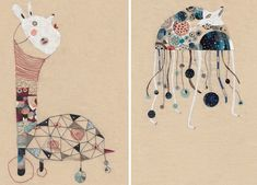 Illustrator Annalisa Bollini creates these mixed media scenes that are a combination of embroidery, appliqué , and paper bits.