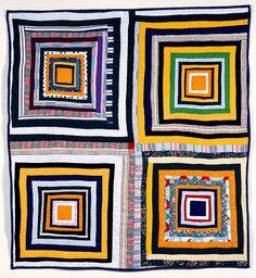"Rita Mae (""Rabbit"") Pettway (American, b. 1941) Four Block Housetop Quilt,  Milwaukee ARt Museum"