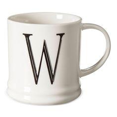 Monogrammed Porcelain Mug 15oz White with Black Letter W - Threshold, Black White