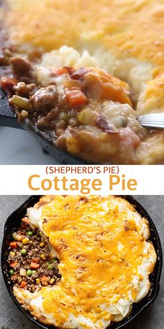 This DELICIOUS Cottage Pie is made with a mixture of ground beef, ground sausage, and mixed vegetables in a delicious gravy and baked under a layer of fluffy mashed potatoes.