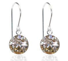 Champagne Single Crystal Drop Earrings - $9.80