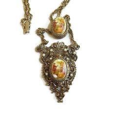 Victorian Revival Slide Pendant Necklace with Porcelain Fragonard Courting Couple Cameos Vintage Filigree & Faux Pearls by MyVintageJewels on Etsy