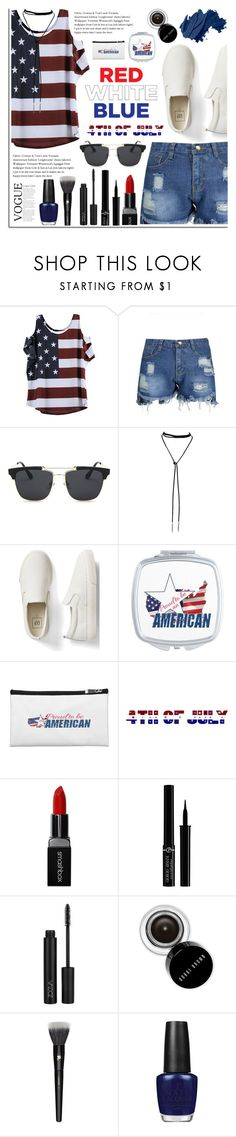 """Red, White and Blue: Celebrate the 4th!"" by dora04 ❤ liked on Polyvore featuring Gap, Smashbox, Giorgio Armani, Bobbi Brown Cosmetics, Lancôme, OPI, fourthofjuly and rosegal"