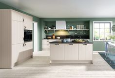 Schüller's silk gloss country kitchen range plays with the colours of nature like this Domus style in Sand Grey