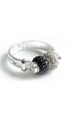 by Belleza Jewelry  The Crystal & Black Double Swarovski Ring