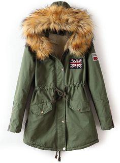 Army Green Faux Fur Hooded Drawstring Union Jack Coat EUR€44.14