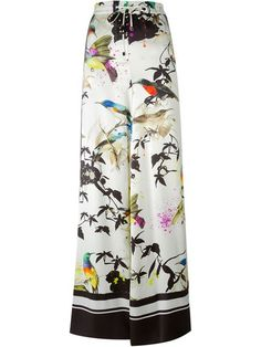 ROBERTO CAVALLI Bird Print Wide Leg Trousers. #robertocavalli #cloth #trousers