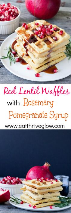 Red Lentil Waffles with Rosemary Pomegranate Syrup - Eat Thrive Glow Vegan Breakfast Recipes, Brunch Recipes, Vegan Recipes, Dessert Recipes, Desserts, Sin Gluten, Good Food, Yummy Food, Pancakes And Waffles