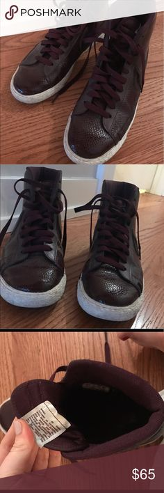 High Top Maroon Nikes-Like New! 9 1/2 Nike Dunks in Maroon with a snakeskin effect. Minimal wear, and in great shape. Originally bought at J Crew in Chicago. Nike Shoes Sneakers