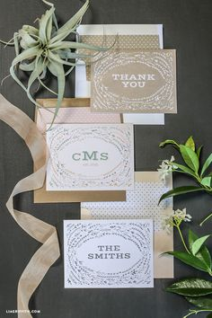 Printable and EDITABLE wild flower notecards that all you do is type in your monogram or whatever you want the card to say and then print. Lia Griffith