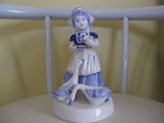 Beautiful Little Dutch Girl Holland GOOSE Geese Delft Blue Nice Collectors Piece | eBay