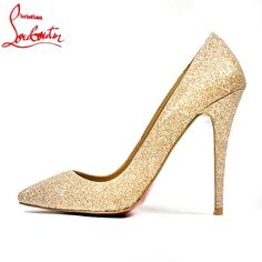Christian Louboutin Shoes and Christian Louboutin Wedding Shoes, Christian Louboutin Pigalle High Heels Stilettos, Stiletto Heels, Gold Glitter Heels, Gold Sequins, Sparkly Pumps, Gold Pumps, Cheap Christian Louboutin, Pointed Toe Pumps, Christian Louboutin Shoes