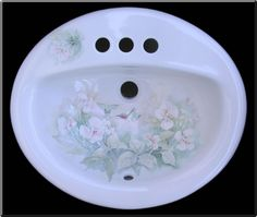 hand painted roses bathroom sink - Google Search