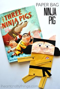This paper bag ninja craft is especially fun for kids with it's movable arms and legs and goes along perfectly with the book Three Ninja Pigs by Corey Rosen Schwartz.