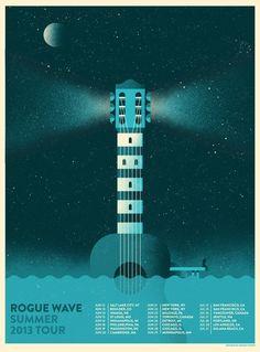 pinterest.com/fra411 #poster #lighthouse - Rogue Wave Summer 2013 Tour Poster by Richard Perez
